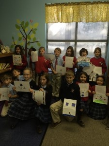 """On the coldest day in Beaufort, St. Peter's third grade class, in support of the """"Molly's Adopt A Sailor"""" service project, wrote letters and drew pictures to more than 400 service men and women stationed in Djibouti, Africa, where it is 114 degrees.  The class discussed the polar opposites and how grateful they were for these brave service men and women."""