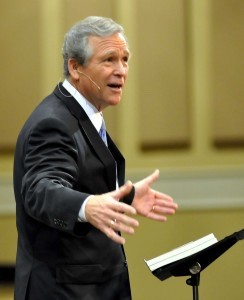 Was former President George W. Bush speaking in Beaufort? Actually, it was John C. Morgan as President Bush entertaining more than 2,000 men gathered for the Men's Wildlife Supper at Community Bible Church last weekend.