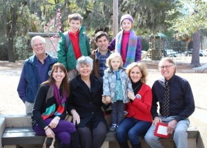 BA students G and Grace Simmons (back row) are joined by their parents, grandparents and younger sister for the day.