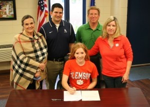 February 5 was National Signing Day and Beaufort Academy Senior Miranda Weslake signed her National Letter of Intent to play soccer at Clemson University. Pictured above, from left: BA Head of School, Ms. Julie Corner; BA Varsity Girls Soccer Coach, David Byrne; Miranda's father Tom Weslake; Miranda's mother Lisa Weslake. And, of course, Miranda in the middle signing her letter.