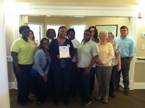 Beaufort Regional Chamber of Commerce staff and ambassadors surprised Summit Place of Beaufort with the honor of being recognized as Business of the Week and breakfast courtesy of Sonic.