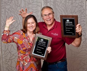 """Pamela Brownstein, editor of The Island News, and photographer Eric Smith celebrate """"Best of the Best"""" at the South Carolina Press Association awards banquet."""
