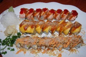 A trio of specialty rolls: Johnny Roll, Sam and Jam Roll, the Police Roll.