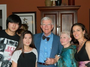 From left: Duke musicians with Al and Sandie Spain, Frances Cherry.