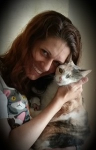 Jessica Weiss and Patches, her one-eyed cat.