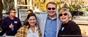 Business After Hours took place on Thursday, March 13 at Kinghorn Insurance, 910 Carteret Street. The evening event was hosted by Kinghorn Insurance of Beaufort and Goodwill Industries of Lower SC. By Captured Moments Photography. Beaufort Chamber of Commerce CEO Blakely Williams, Kazoobie owner Stephen Murray, and Rep. Shannon Erickson enjoy the nice weather at Kinghorn Insurance.