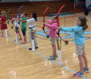 The third graders at Beaufort Academy are taking a unit on archery during their PE class. From left: Ledare Pingree, Kate Luckey, Katherine Taylor, Kendra Rogers, Alex Compton, Brycen Ambrose.
