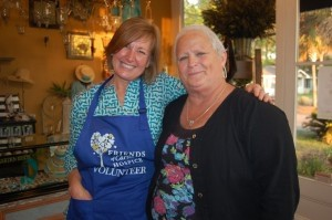 Sharon Dwyer with Friends of Caroline Hospice and Nuances owner Nancy Vista.