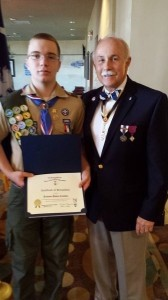 Jackson Canaday receives the SAR Eagle Scout of the Year award from Jody Henson on behalf of Eagle Scout Chairman Henry Chambers of the Gov. Paul Hamilton SAR Chapter. Photo by Brian Canaday.