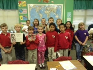 Second grade students at St. Peter's Catholic School received a certificate of honor and thanks from Food for the Poor Inc. as thanks for the monetary donation from the students. Food for the Poor, Inc helps to feed the poorest children in countries throughout the Caribbean and Latin America. The students set their next goal at $90 which would be enough to purchase a goat for a family in need.  To support the fundraising efforts of the second grade class, please call the school at 843-522-2163.