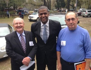 State Rep. Bakari Sellers, the Democratic nominee for Lt. Governor, middle, meets Beaufort County Party Chairman Blaine Lotz and Peter Post, Democratic Party executive committee member from Dataw Island.