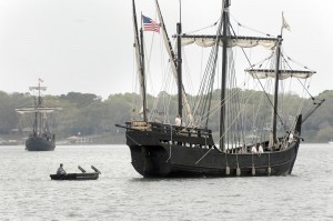 A small chase boat helps push The Niña, a replica of Christopher Columbus' ship, into position before tying up at the Downtown Beaufort Marina on Monday, April 7.