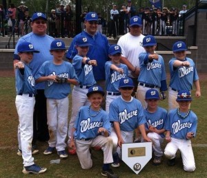 The Beaufort waves roll in again with another win in the two-day April Fools baseball tournament from April 5-6, 2014 in Charleston at Westcott field. Pictured from left, top row: Connor Aivaz, Hunter Rast, Griffin Siegel, Jack Carter Worrell, Graham Ruff, Riley Thomson. From left, bottom row: Harley Ward, Jimmy Davenport, Will Roberts, Quade Matthews. Coaches from left: Troy Davenport, Harley Ruff and Nick Thomson.
