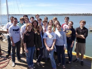 The Marine Science class at Beaufort Academy went to the Beaufort Yacht and Sailing Club to test water turbines. The student groups each made their own design to try and harness the power of the tides. Here is the class with teacher Mrs. Karen Edmonds.