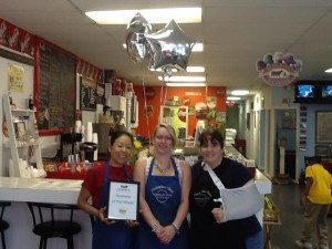 Each week, the Beaufort Regional Chamber of Commerce chooses a chamber business to honor and surprises them with breakfast courtesy of Sonic. Pictured above is Marketplace News.