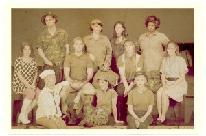 """The local cast members from """"A Piece of My Heart."""" Front row, from left: Margy Oehlert, Maria Combess, Carol Miller. Middle row: Kay Owen, Eddie Watson, Joellen Hirschey, Anne Helm. Back row: Karl Wells, Heather Szeder, Jill Sheldon, Jessica Lopes. Photo by Captured Moments Photography."""