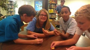 """The first Beaufort Academy Thingamajig Thursday Club event was held by Ms. Reilly last week, during which they created """"BrushBots"""" — small vibrating robots. Students competed against each other with their BrushBots in tabletop races. Pictured: Connor Aivaz, Emma Melville, Kevin Rogers, and Witt Compton.  Not pictured: Campbell Dukes, Riley Gates, and Emma Dillinger."""