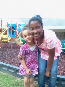 The author's daughter, at right, spends time with homeless children and families across Beaufort County.