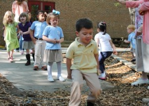 Students at Beaufort Academy in PreK-3, PreK-4, and Kindergarten participated in the MDA Hop-A-Thon, MDA's Disability & Awareness Program. They raised money for MDA as they hopped... $441 to be exact!  Go Little Eagles! Pictured above: Nathan Powell takes a turn hopping over a string.