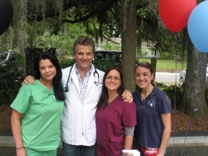 Part of the Animal Medical Center team, from left: Ashley Murdoch, Dr. Mark Guilloud, Stephanie Klonis and Maloney Thull.