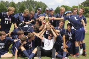 The Beaufort Academy Boys Varsity Soccer Team won the SCISAA Class 1-A/2-A Championship, edging Oakbrook Prep 2-1 in overtime at Heathwood Hall on Saturday, May 10. Drummond Koppernaes provided the game-winning goal when he found the net with a left-footed shot in overtime. The team captured its first title since spring 1999.  Clay Melville scored first and stayed ahead the whole game until the Knights scored on a free kick in the 58th minute. Pictured at right: the boys team after their victory.