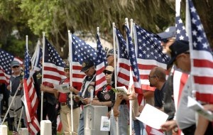 The Patriot Guard Riders from Charleston,Beaufort and Savannah formed in informal color guard at the Beaufort National Cemetery during the Memorial Day ceremony.