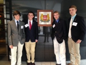 Beaufort High School's Academic World Quest team sponsored by the WAC-Hilton Head traveled to Washington, DC over last weekend to compete in the National AWQ Competition.  Here, team members stand in front of the Embassy of Singapore as the guests of Ambassador Ashok Kumar Mirpuri. Left to right: Michael Schwartz, Robert Crumley, Ciaran Cordial, and Austin Mix.