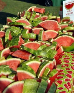 Mounds of freshly cut watermelon were on hand for participants in the annual Taste of Beaufort's 5K run on Saturday morning. Photo by Bob Sofaly.