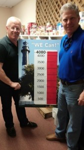 Steve Curless, left, of HELP of Beaufort, and Lane Glaze, pastor at Waters Edge Methodist Church, hold a sign to show the church met its goal of 4,080 canned goods.