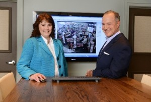 Chief Operating Officer, Amy Lane, and Greg Parker, president and CEO of The Parker Companies, in the company's headquarters in Savannah.