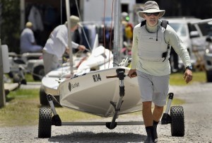 David Lewin hauls his Sunfish sailboat to the ramp prior to the start of the regatta last Saturday at the Beaufort Yacht and Sailing Club.