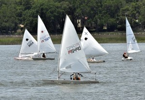 Lightnings and Sunfish sailboats stay bunched up at the starting line of the Lowcountry Regatta last Saturday hosted by the Beaufort Yacht and Sailing Club. Photo by Bob Sofaly.