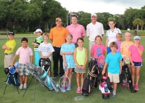 BA students Brian Rhatigan, Brock Bettle, Cal Harvey, Grace Simmons, Ledare Pingree, Kate Luckey, Olivia Dinkins, Sumner Pingree, Alex Compton, Brycen Ambrose and Claire Tumlin receive golf instruction from Dataw Island Club instructors.