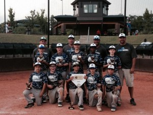 The Beaufort Riptide Baseball team holds their trophy from the 2014 Father's Day Fury Tournament in Walterboro on June 15. Pictured left to right. Kneeling: Colin Peterson, Hayden Jennings, Christian Londono, Mason Westerfield, Joshua Denton. Standing: Matthew Bornscheuer, Josh Kross, Wes Graves, Oliver Holmes, Rhogue Wallace. Coaches: Richard Jennings, Al Wallace, Brett Westerfield (Head Coach), Bobby Graves.