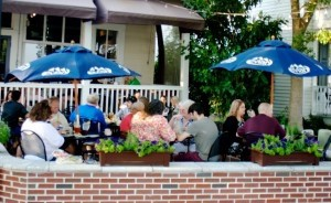 Diners enjoy the new patio seating outside Plum's.