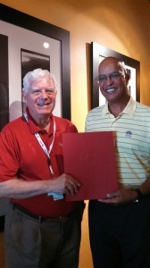 Carl Schroeder, left, Volunteer of the Second Quarter, with Carl Statham, Southern Territory Disaster Program Manager, American Red Cross Palmetto SC Region.