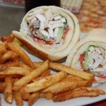 Chicken wrap with sour cream and chive fries