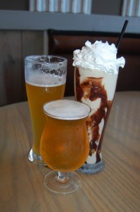 Fat Patties offers a stellar selection of adult beverages. Here is a Wit, a Golden Monkey, and a Marshmallow adult milkshake.