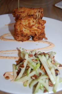 Blue cheese tots with apple salad