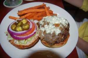 Blue cheese burger with sweet potato fries