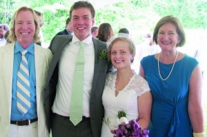 From left: Terry Sweeney, newly married Will Lutz and Elizabeth Walker, with Robin Leverton.