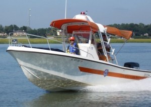 One of the Beaufort Water Search and Rescue boats with its horizontal orange stripe.
