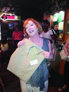 Catherine Guirard was celebrating her birthday and won a door prize.