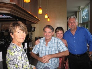 From left: Kim Gundler, Mark Shaffer and his wife with Ron Tucker at the Greendrinks meeting on Tuesday, Aug. 19.