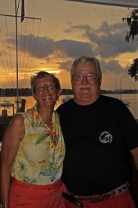 Leigh and Bruce Harmer at BYSC's first Friday sunset party.