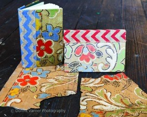 Handmade journals are covered with the patterns of the original linoleum found in the renovated Lipsitz building.