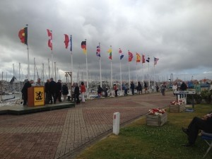 Lisa Mazzeo sent these pictures from the regatta in Nieuwpoort, Belgium, where her son is on the U.S. team competing against other countries. Here is the opening flag event. Above: The full team; at right is a boat on the water.