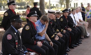 Area firefighters listen to first-hand account of the events during the September 11th terrorist attack from Battalion Chief David Simms of the NYFD. Photo by Bob Sofaly.