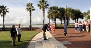 A memorial wreath of red, white and blue flowers was presented by the Military Officers Association during the annual 9/11 Commemorative Ceremony last Thursday, Sept. 11 at Henry C. Chambers Waterfront Park. Photo by Bob Sofaly.