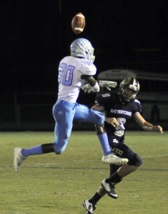 Hilton Head's safety John Baty, breaks up the pass intended for Battery Creek's Porter Mahan on Friday night.